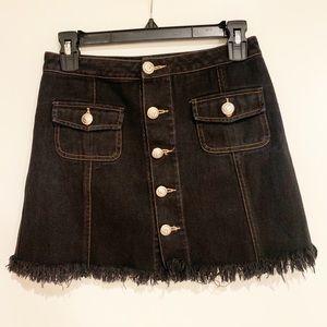 Balmain Denim Distressed Mini Skirt with Buttons